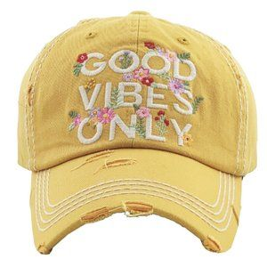 Good Vibes Only Yellow Distressed Adjustable Hat